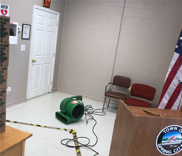 SERVPRO equipment sitting in floor of Spring City, Tennessee's courtroom.
